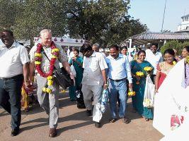 Tom Receives Royal Welcome at Vijayawada Airport